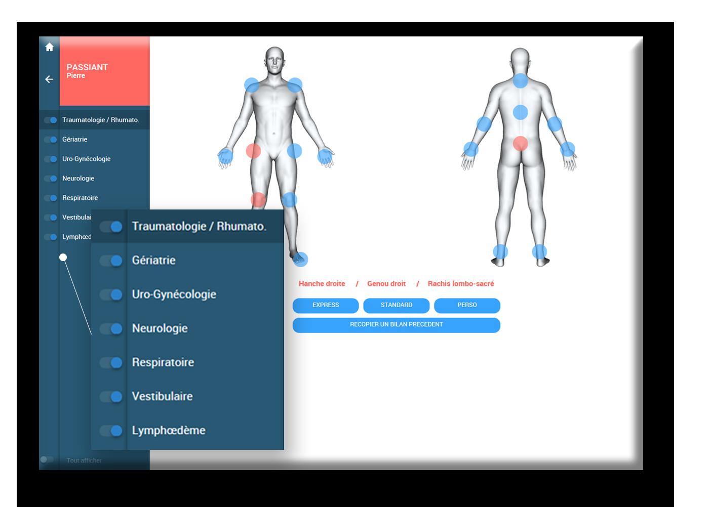 bilan bdk patients kiné pathologie bilan catégorie